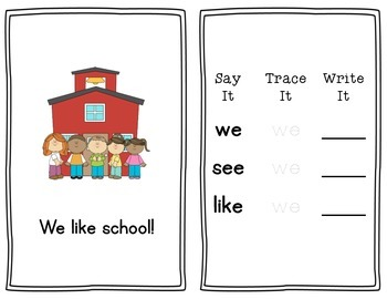 At School: A Printable Sight Word Book for Emergent Readers