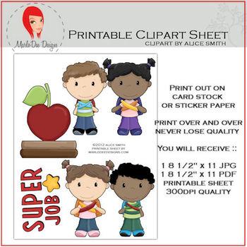 At School Set 2 Printable Graphics Sheet