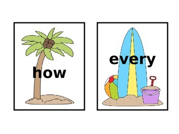 At The Beach (1st Grade Dolch) Sight Words