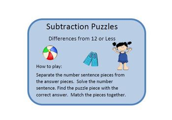 At The Beach Three Sets of Puzzles for Subtraction Practice and Fluency