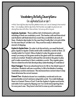 At The Beach Vocabulary Activities & Games- 5th Grade Unit 2, Story 1