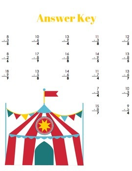 At The Circus Subtraction Worksheets