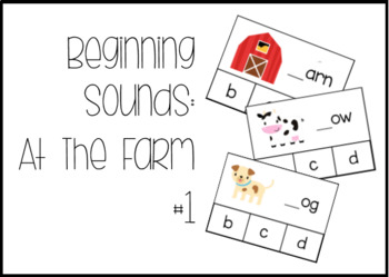At The Farm Beginning Readers and Beginning Sounds Task Box