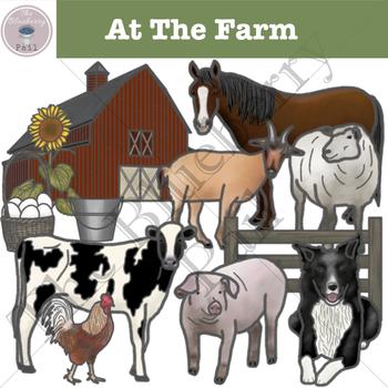 At The Farm Clipart Set
