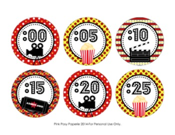 At The Movies Clock Number Labels