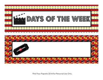 At The Movies Days of the Week Calendar Headers