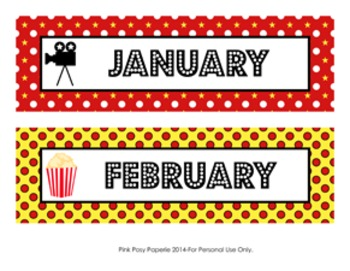 At The Movies Monthly Calendar Headers