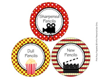 At The Movies Pencil Caddy Labels