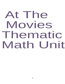 At The Movies Thematic Math Unit Grade 3