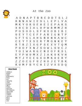 At The Zoo Word Search