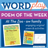 At The Zoo -aw Word Family Poem of the Week - Vowel Sound Fluency Poem