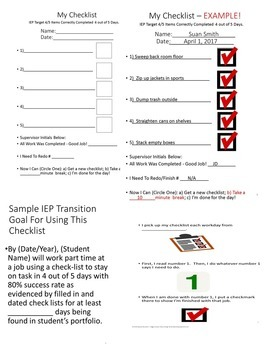 Special Education Transition Vocational At Work I Use a Checklist - Social Story