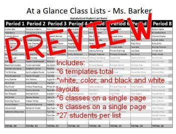At a Glance Class Lists