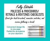 At a Glance One Page Policies & Procedures/Rituals & Routi