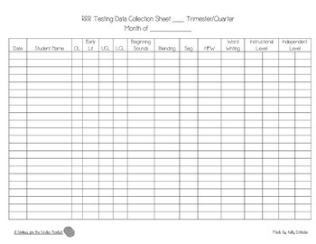 At-a-Glance Reading Running Record Data Collection Sheet
