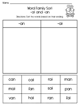 At and An Word Family Sort FREEBIE!