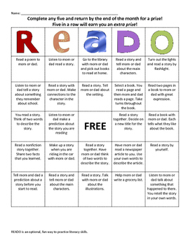 READO: Literacy and Reading bingo style game for at home fun