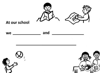 At our school - simple writing sheet, illustrated