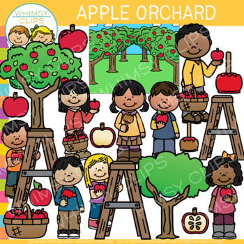 At the Apple Orchard Clip Art