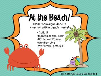 At the Beach! Classroom signs in Chevron with a Beach theme!