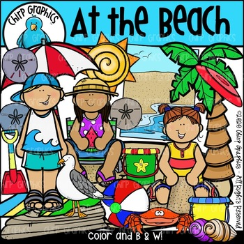 At the Beach Clip Art Set - Chirp Graphics
