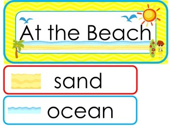 At the Beach Word Wall Weekly Theme Posters.