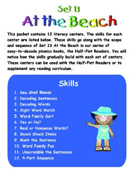 At the Beach Literacy Centers: Half-Pint Readers Set 13