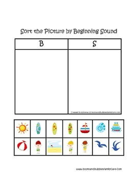 At the Beach-Sort the Picture By Beginning Sound