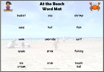 At the Beach Writing Prompts and Word Mats