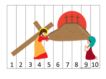 At the Cross 1-10 Sequence Puzzle preschool Bible curriculum game. Christian mat