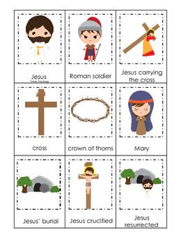 At the Cross 3 Part Matching preschool Bible curriculum game. Preschool printabl