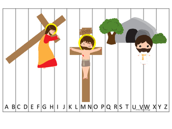 At the Cross Alphabet Sequence Puzzle preschool Bible curriculum game. Preschool