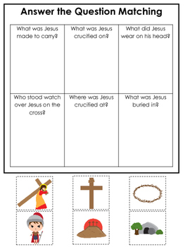 At the Cross Answer the Question preschool Bible curriculum game. Preschool prin