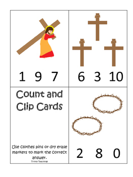 At the Cross Count and Clip preschool Bible curriculum game. Preschool printable
