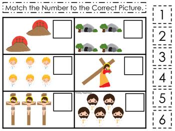 At the Cross Match the Number preschool Bible curriculum game. Christian math
