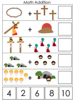At the Cross Math Addition preschool Bible curriculum game. Christian math print