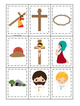 At the Cross Memory preschool Bible curriculum game. Christian matching game