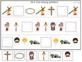 At the Cross Missing Pattern preschool Bible curriculum game. Preschool printabl