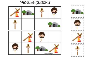 At the Cross Picture Sudoku preschool Bible curriculum game. Christian preschool