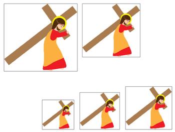 At the Cross Size Sequence preschool Bible curriculum game. Christian preschool