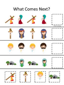 At the Cross What Comes Next preschool Bible curriculum game. Christian preschoo