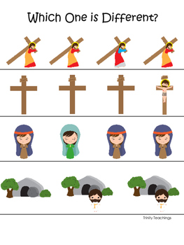 At the Cross Which One is Different preschool Bible curriculum game. Christian p