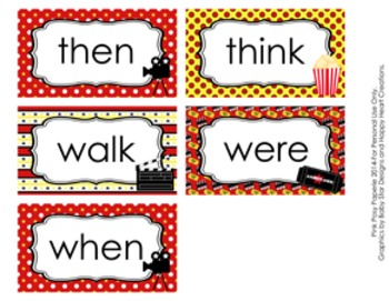 At the Movies 1st Grade Dolch Sight Wall Words