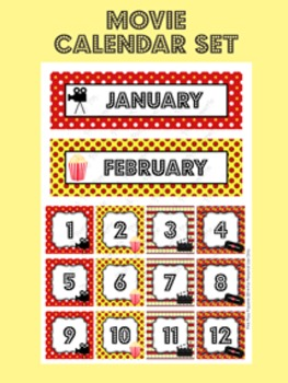 At the Movies Calendar Set - Months - Days - Numbers