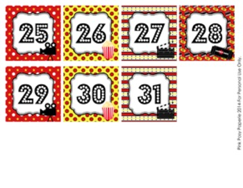 At the Movies Classroom Decor Monthly Calendar Numbers