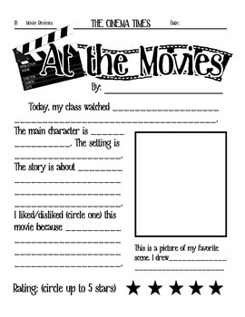At the Movies- Elementary Movie Worksheet by Crocodiles and Cuttlefish