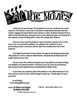 At the Movies- Elementary Movie Worksheet