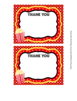 At the Movies Flat Thank You Note Cards
