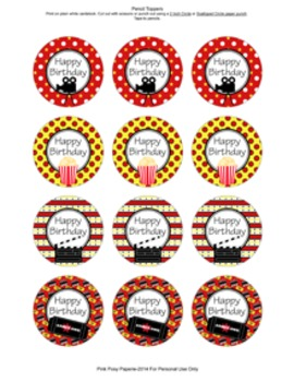 At the Movies Hollywood Birthday Pencil Toppers