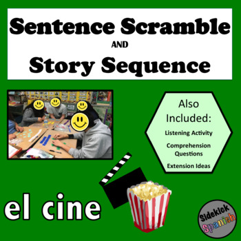 At the Movies Spanish Vocabulary: Sentence structure & Story Sequence Activities